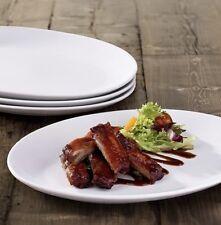 Set Of 12 Pure White Oval Dinner Plate Steak Rib Plates Porcelain Plates 31cm