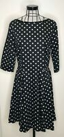 Ladies PHASE EIGHT Navy White Polka Dots Spots Fit and Flared A Line Dress UK 12