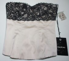 "NWT bebe ""Glamour Satin"" GOLD Strapless BUSTIER  Size 6 ~ Black Lace Trim"