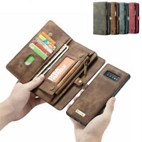 For Samsung A20 A30 A50 A70 Removable Zipper Leather Flip Wallet Case Cover New