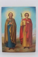Antique 19c Russian Hand Painted Wood Icon St. Flor and Lavr patrons of animals