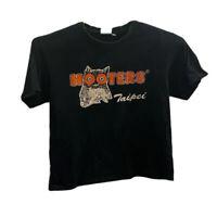 Hooters Taipei Mens Graphic T-Shirt Black Crew Neck Tee L Short Sleeve