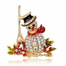 Crystal Rhinestone Lovely Snowman Christmas Gift Women Jewelry Brooch Pins