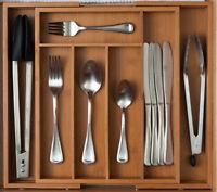 Cutlery Tray Orginizer 7 Slot Expandable Bamboo Cutlery Storage Drawer Organizer