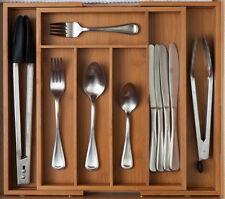 Expandable Cutlery Tray Orginizer 7 Slot Bamboo Cutlery Storage Drawer Organizer