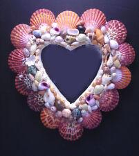 "Beautiful Heart Shaped Seashell Mirror 9x8"" Beach Decor Coastal Cottage Chic"