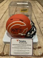 Mitchell Trubisky Autographed/Signed Mini Helmet Fanatics COA Chicago Bears Amp