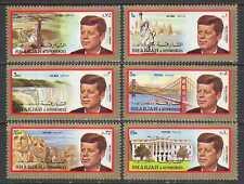 Sharjah 1972 JFK/Kennedy/Space/Waterfall/Bridge/Statue/Buildings 6v set (n23653)