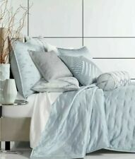 Hotel Collection Dimensional KING Quilted Coverlet $420 Blue/Metallic accents