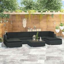 vidaXL 47255 Garden Sofa Set - Rattan Black