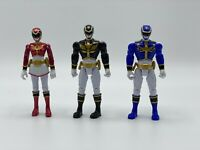 Set Of Three SCG Power Ranger Figures-Blue-Black-Metallic Pink-4 Inches Tall
