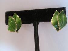 Green Enamel Leaf-Shaped Clip-On Earrings, Signed Giovanni
