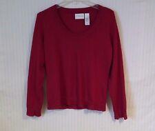 Liz Claiborne Medium Red Women's Long Sleeve Pull Over Sweater Top Rhinestones