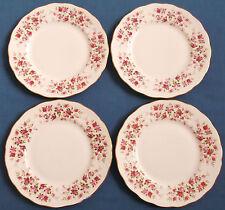 Cuatro Vintage Queen Anne Ditsy Rosa Cascada Rosas China Platos Vajilla Dorada