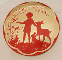 Vintage Toffee Tin Wilkin Ltd Silhouette Cremona Red Gold Boy Fawn Woods Round