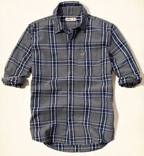 Men's Hollister By Abercrombie Long Sleeve Grey Colour Check Shirt Size S