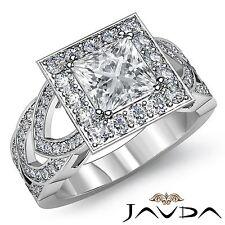 Halo Pre-Set Princess Diamond Engagement Ring GIA F VS2 18k White Gold 2.75ct