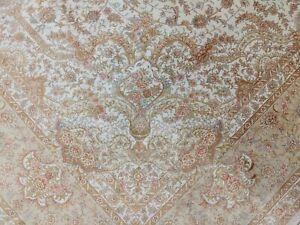 8 x 12 feet White Silk Rug Classic High End Oriental Carpet Handmade 400 KPSI