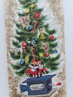 UNUSED Vtg MCM Decorated TREE on MUSIC Box Emboss CHRISTMAS GREETING CARD w Env