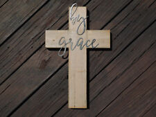 BY GRACE Wooden Cross, Wall Hanging Wood Cross, Home Decor, Art, Gift, Rustic