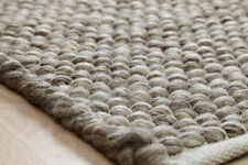 Chunky Natural Taupe Brown Modern Handwoven Bubbly Pebble affect Wool Durrie Rug