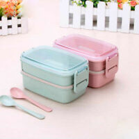 AG/_ ALS/_ Mini Student Children Bento Food Container Double Layer Microwave Lunch