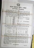 """MANIFESTO ORIG. """"MINISTERO D'AGRICOLTURA, INDUSTRIA E COMMERCIO """" 29 MARZO 1865"""