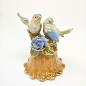Vintage Ceramic Dinner Bell Green Blue Birds Atop Brown Branch with Flowers