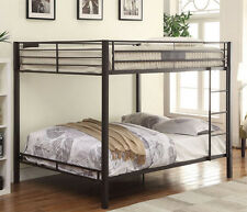 NEW RILEY CONTEMPORARY BLACK SAND FINISH METAL QUEEN OVER QUEEN BUNK BED