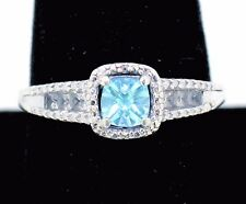 BLUE TOPAZ & CUBIC ZIRCONIA RING REAL SOLID 925 STERLING SILVER 2.7 g SIZE 11.75