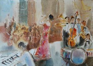 MICHAEL ROZENVAIN (1963-), Watercolor on Paper, Concert Show, Signed