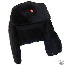 WINTER FUR COSSACK TRAPPER HAT Mens large black ushanka & Soviet DDR star badge