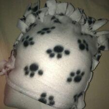 Fringe ~ Mohawk Fleece Hat ~ Paw Prints White (S/M)