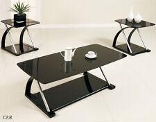 NEW 3PC ZEBE MODERN SLEEK BLACK GLASS SILVER METAL COFFEE END TABLE SET