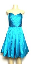 Besty Johnson Dress Womens Pleated Strapless Short Teal Size 4