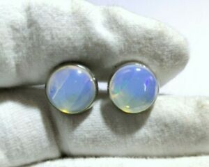 925 Sterling Silver Blue Fire Opal Cufflinks 7 Ct Blue Fire Opal Cufflinks