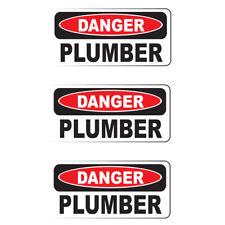 "DANGER PLUMBER (3 Pack)HardHat Sticker (size: 2"" x 1"") Printed Sticker"