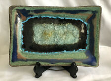 New ListingArtist-signed Crackle Glass Ceramic Footed Tray