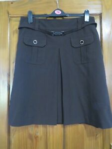 LADIES MARKS AND SPENCER CLASSIC BROWN SKIRT BROWN SIZE 16 -  HOUSE CLEARANCE