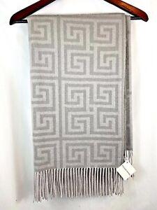 Williams Sonoma 100% Cashmere Gray Greek Key Throw Blanket NWT