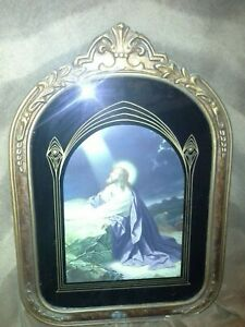 Vintage Framed Religious Picture  Jesus in the Garden  Painted Glass 19 x 14