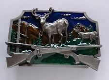 HUNTING BUCK DEER CROSSED GUNS RIFLES 3D BELT BUCKLE SISKIYOU MADE IN USA 1982