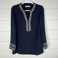 Tory Burch Womens Navy Blue Size Small Long Sleeve Embroidered Blouse Top