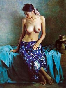 Oil painting portrait nice nude naked Chinese young girl sitting Hand painted