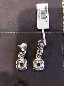 JOHN HARDY- EARRINGS- DROP-WHITE TOPAZ- STERLING SILVER-KALI- $695-NEW WITH TAGS