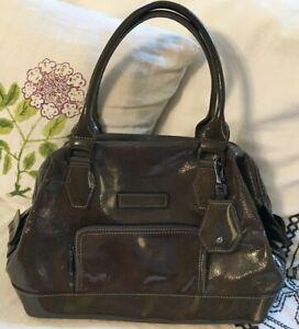 LONGCHAMP Olive LEGENDE Patent Leather Framed Satchel Purse Bag-NEAR MINT