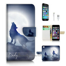 ( For iPhone 7 Plus ) Wallet Case Cover P2697 Wolf