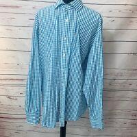 Thomas Dean  Blue/White Pima Cotton Button Down Long Sleeve Shirt Mens XL