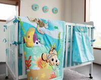 8pcs Baby Crib Bedding Set Blue Ocean Bed Linen Cotton Baby Cot Sets with Bumper