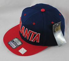 LOGA Embroidered Atlanta Navy Red Baseball Hat Tonal Snapback Flat Peak Cap